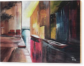 Wood Print featuring the painting Venice 1 by Anil Nene