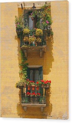 Venice Balcony Wood Print by Carl Jackson