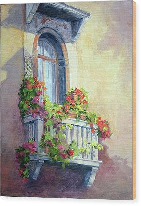 Wood Print featuring the painting Venice Balcony by Vikki Bouffard