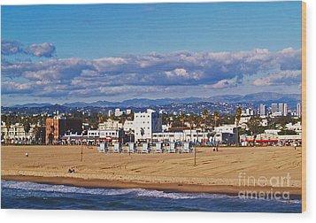 Venice Beach In Fall Wood Print