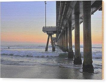 Venice Beach Pier Sunset Wood Print