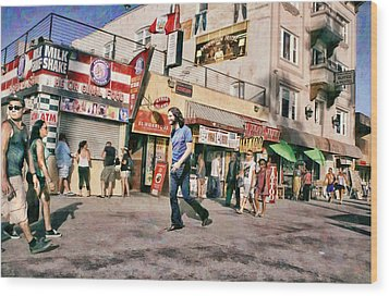 Venice Beach Walk Wood Print