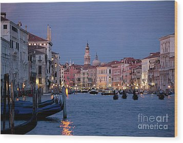 Venice Blue Hour 2 Wood Print by Heiko Koehrer-Wagner