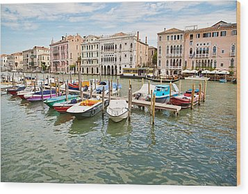 Wood Print featuring the photograph Venice Boats by Sharon Jones