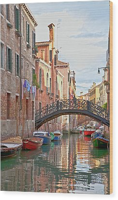 Venice Bridge Crossing 5 Wood Print by Heiko Koehrer-Wagner