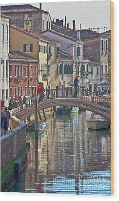 Venice Bridge Crossing 6 Wood Print by Heiko Koehrer-Wagner