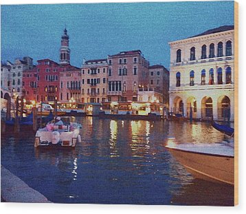 Wood Print featuring the photograph Venice By Night by Anne Kotan
