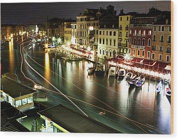 Venice Canal At Night Wood Print by Patrick English