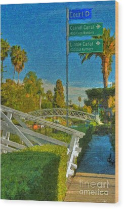 Wood Print featuring the photograph Venice Canal Bridge Signs by David Zanzinger
