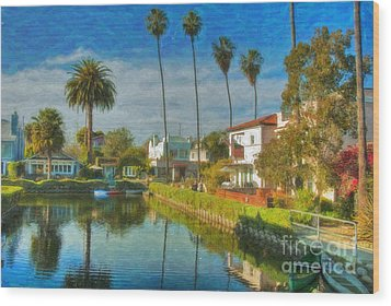Wood Print featuring the photograph Venice Canal Houses Watercolor  by David Zanzinger
