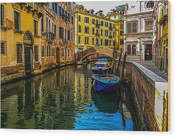 Venice Canal In Italy Wood Print by Marilyn Burton