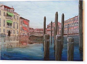 Venice Canal Wood Print by Irving Starr