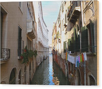 Venice Canal Wood Print by Katie Wing Vigil