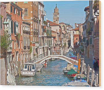 Venice Canaletto Bridging Wood Print by Heiko Koehrer-Wagner