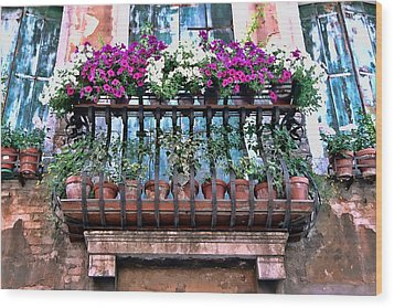Wood Print featuring the photograph Venice Flower Balcony by Allen Beatty
