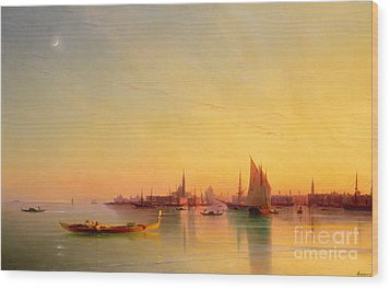 Venice From The Lagoon At Sunset Wood Print by Ivan Konstantinovich Aivazovsky