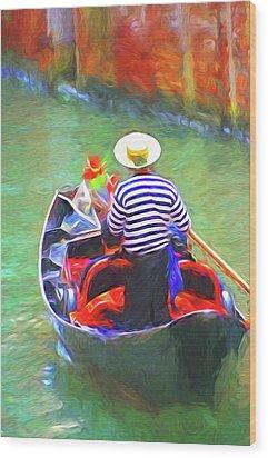 Venice Gondola Series #3 Wood Print by Dennis Cox