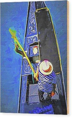 Venice Gondola Series #4 Wood Print by Dennis Cox