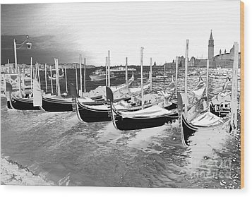Wood Print featuring the photograph Venice Gondolas Silver by Rebecca Margraf