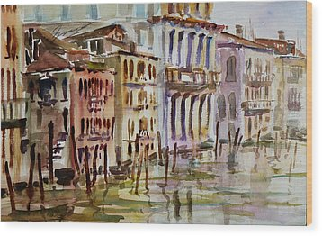 Wood Print featuring the painting Venice Impression II by Xueling Zou
