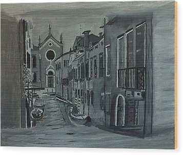Venice In Grey And White Wood Print by Rod Jellison