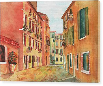 Venice Italy Street Wood Print by Sharon Mick