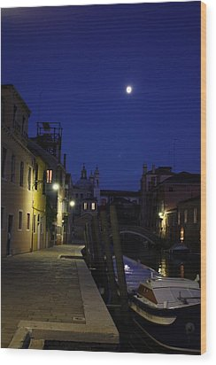 Venice Moon Wood Print by Pat Purdy
