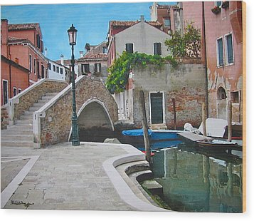 Venice Piazzetta And Bridge Wood Print by Italian Art