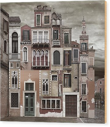 Venice Reconstruction 2 Wood Print by Joan Ladendorf