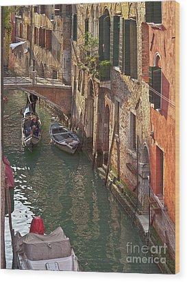 Venice Ride With Gondola Wood Print by Heiko Koehrer-Wagner