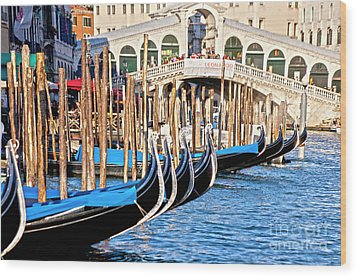 Venice Sunny Rialto Bridge Wood Print by Heiko Koehrer-Wagner