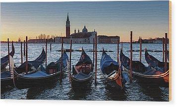 Venice Sunrise With Gondolas Wood Print by Evgeni Dinev
