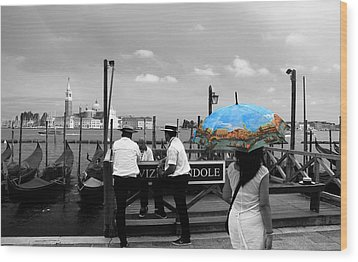 Wood Print featuring the photograph Venice Umbrella by Andrew Fare