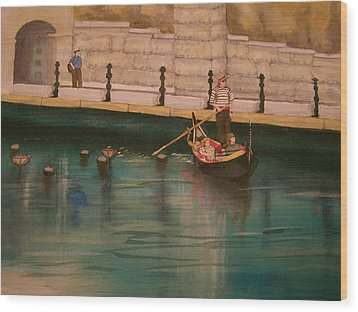 Wood Print featuring the painting Venice Via Providence by Lynn Babineau