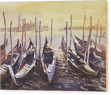 Wood Print featuring the painting Venice Watercolor- Italy by Ryan Fox