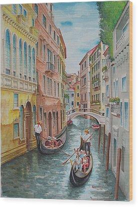 Venice Waterway  Italy Wood Print by Charles Hetenyi
