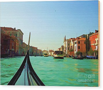 Wood Print featuring the photograph Venice Waterway by Roberta Byram