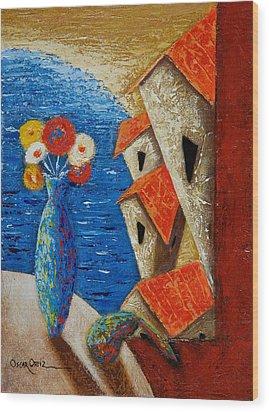 Ventana Al Mar Wood Print by Oscar Ortiz