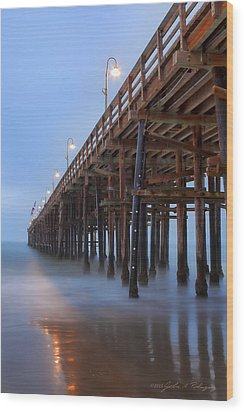 Ventura Ca Pier At Dawn Wood Print by John A Rodriguez