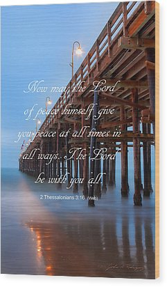 Ventura Ca Pier With Bible Verse Wood Print by John A Rodriguez