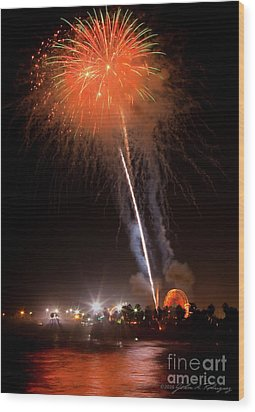 Ventura California Fair Fireworks Wood Print by John A Rodriguez
