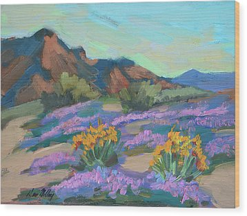 Wood Print featuring the painting Verbena And Spring by Diane McClary
