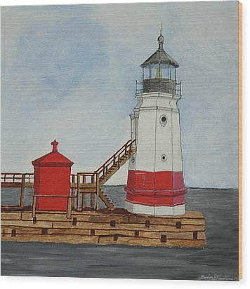 Vermilion Ohio Lighthouse Wood Print by Gordon Wendling