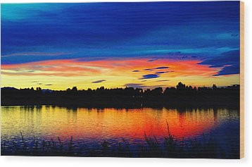 Wood Print featuring the photograph Vermillion Sunset by Eric Dee