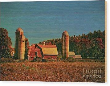 Wood Print featuring the photograph Vermont Autumn Barn by Deborah Benoit