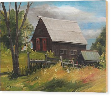 Vermont Barn Wood Print by Nancy Griswold