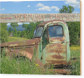 Vermont Cheese Wood Print by Susan Lafleur