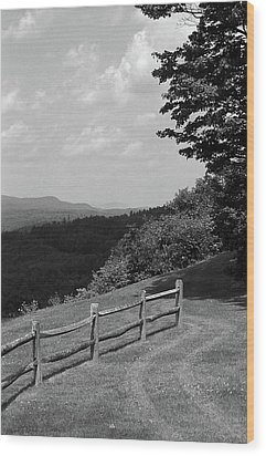 Wood Print featuring the photograph Vermont Countryside 2006 Bw by Frank Romeo