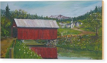 Vermont Covered Bridge Wood Print by Russ Harriger