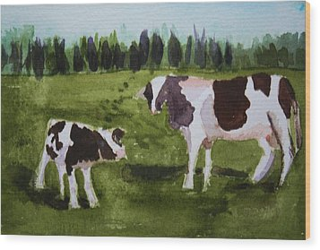 Wood Print featuring the painting Vermont Cow And Calf by Donna Walsh